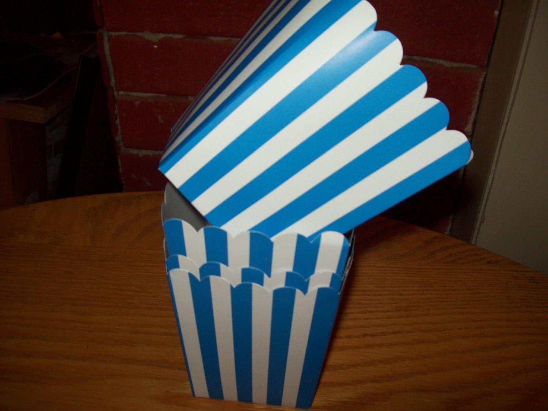 Mini Light Blue Striped Popcorn .Boxes Movie Night Party Set