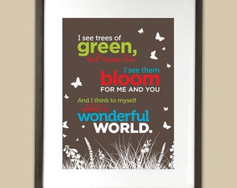 What a Wonderful World - Louis Armstrong - song lyrics typographic art print
