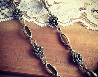 1 Pc - 90cm Rose Bead Necklace Chain Antique Bronze Chain Vintage Style Chain Oval Bead Charm Chain Jewelry Supplies (EC004)