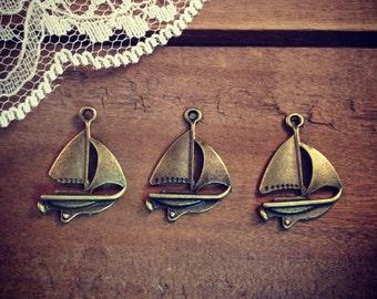 6 Pcs Sail boat Charms Antique Bronze Charm Small Charm Nautical Charm Sail Boat Vintage Style Pendant Charm Jewelry Supplies (B033)