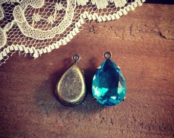 2 Pcs Light Blue Swarovski Crystal Tear Drop Gems Jewels Orange Drop Gem Charm Antique Bronze  (G053/AY015)