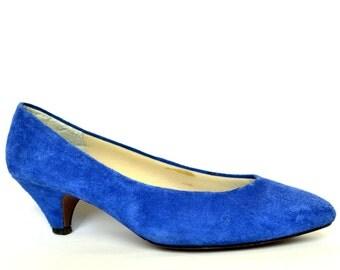 Vintage G WIZ Royal Blue Suede Heels 8.5 Vtg 80s Blue Pumps Shoes 8 1/2