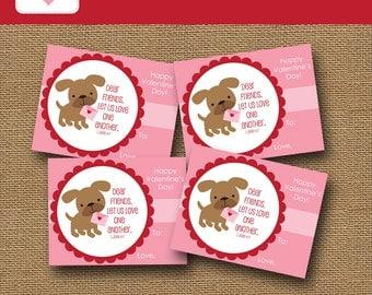 Puppy Dog Valentine Card for Girls | DIY PRINTABLE | Christian, Scripture, Bible Verse Valentine | School Valentine Party | Instant Download