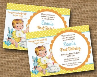 Baby's First Birthday Invitation | Vintage Birthday Party Invite | Christian Birthday Invitation | Retro Baby Boy Graphic 2 | DIY PRINTABLE