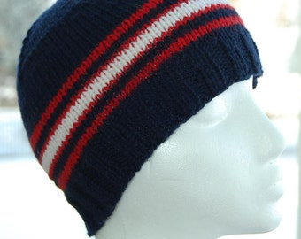 Blue White Striped Beanie Knit Knitted Wool Cap Hat