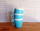 Aqua and White Picnic Cups Set of 3