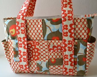 OOAK Large Ultimate Diaper Bag with Zipper Closure in Amy Butler Fabric