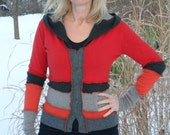 SALE Dragonfly Rags Upcycled Sweater Hoodie- Embers - size M