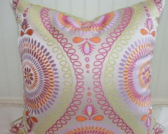 IN STOCK / Pink, Green, Orange Mosaic Pillow Cover / 22 X 22 / Clardige Designer Upholstery