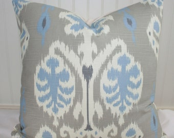 IN STOCK / Grey, Blue and White Ikat Pillow Cover / 16 X 26 / Designer Caftan fabric