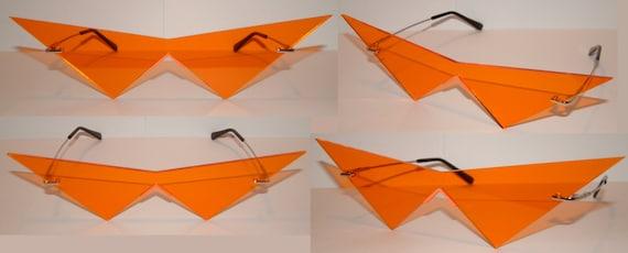 Mini orange cosplay costume glasses V lens Pointy glasses.
