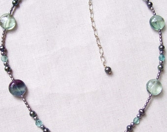 High Grade Fluorite, Apatite and Fresh Water Pearl Necklace with Sterling Silver