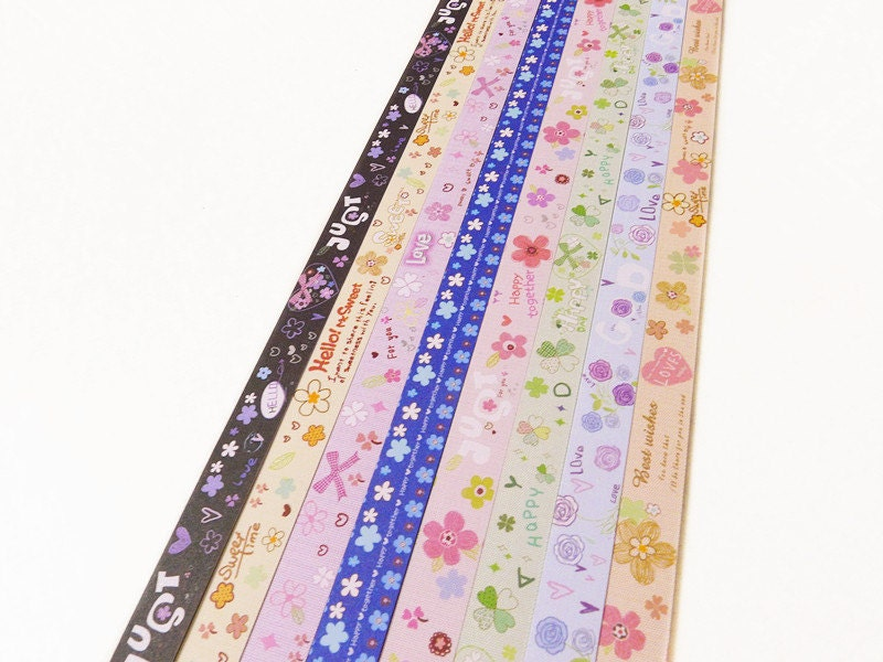 Origami lucky star paper strips lovely floral designs star for Lucky star folding