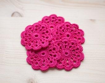 Set of 5 crochet flower appliques Birthday Party Decoration Wedding decoration Embellishment - Fuchsia, Deep pink