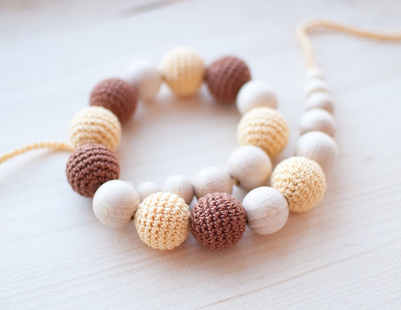 Nursing necklace / Teething necklace - Burnt sienna, Light yellow