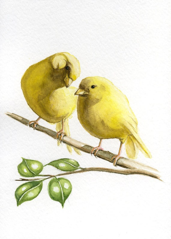 Items similar to Yellow canary bird painting 5X7 prints ...