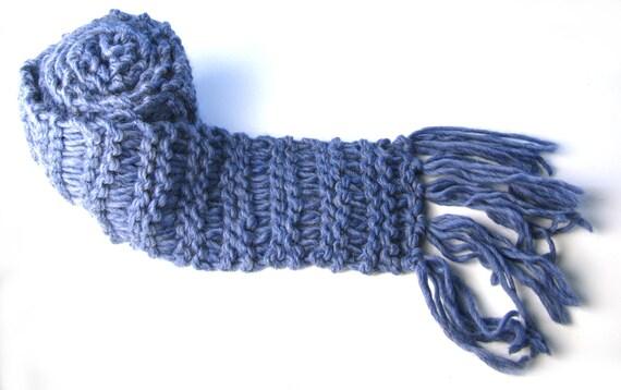 Extra long scarf, chunky-knit scarf, fringed scarf — denim blue, blue scarf
