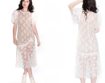 Vintage Upcycled White Sheer 20's Revival Wedding Drop Waist Dress //Chantilly LACE