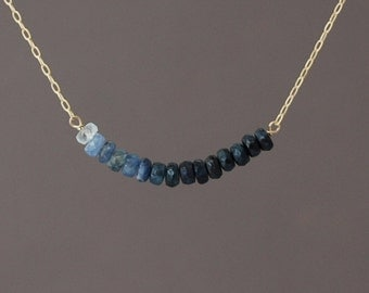 Real Blue Sapphire Ombre Beaded Necklace Gold Rose Gold or Silver