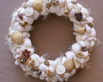 Seashell wreath - 11 inch wreath - Shell wreaths - wedding wreaths - Christmas  wreath - gold  wreath