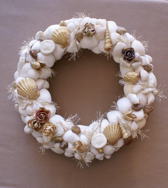 Seashell wreath 11 inch wreath shell wreaths wedding for Seashell decor