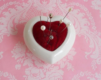 Vintage Heart Pin Cushion Red Velvet Hat Pins Seamstress Gift