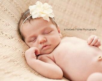 Baby Headband, Ivory Flower Headband, Infant Headband, Flower Girls Headband, Baby Dedication, Girls Headband, Skinny Headband, Photo Prop