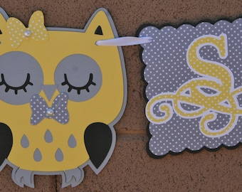Owl Baby Shower Banner - 1 row, New Baby, Party Decoration. Yellow and Gray.