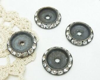 4  rhinestone cabochons/ bezels 20mm