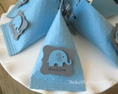 Blue and Grey  Baby Elephant - Baby Shower Favors - Birthday Party Favors-Elephant favor boxes..set of 12