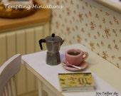 Metal Espresso Coffee Maker - 1:12th Dollhouse Miniature