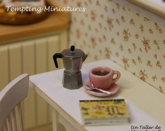 JULY SALE - 25% DISCOUNT!! Metal Espresso Coffee Maker - 1:12th Dollhouse Miniature