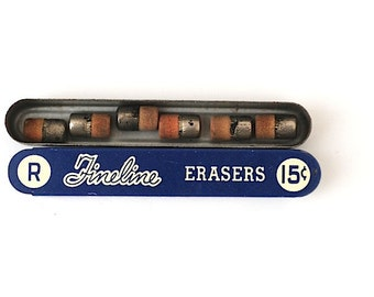 Vintage FIneline Sheaffers Erasers Tops, Vintage Mid Century Office Supplies, Made In the USA, Graduation Gift For Him