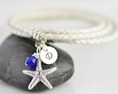 Personalized hand stamped bracelet, mothers day gift,White leather cord wrap bracelet with hand stamped initial disc and starfish charm