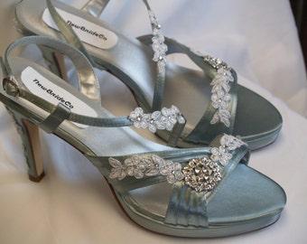 Size 10 Ready to Ship Brides Wedding Silver heels w crystals & appliqués,Bridesmaids,25th Anniversary,High Heel Satin Sandals,Old Hollywood