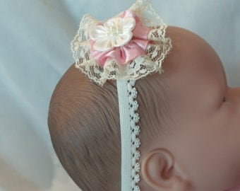 Ivory pink Baby flower, lace head band