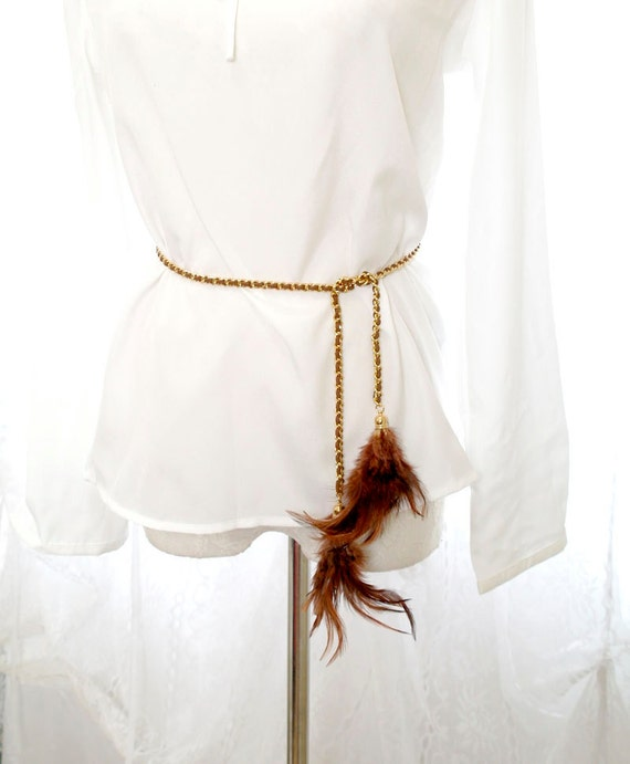 Avant Garde Handmade gold chain feather belt sash necklace 2 way brown