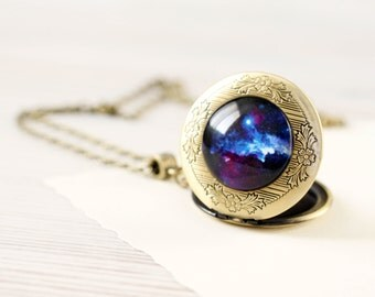 Cosmic Galaxy Blue locket necklace - Space jewelry