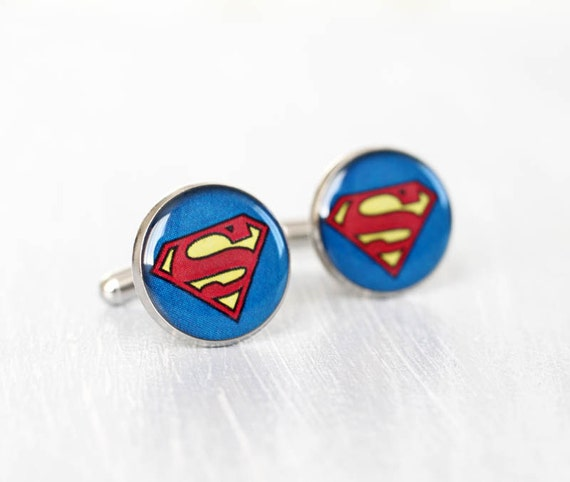 Mens Cufflinks - Superman cuff links - Comic Superhero - Accessories for Men