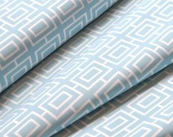 Mod Boxes in Light Blue (Trellis) - Organic Cotton -  Modern Home Collection  - Monaluna Fabrics- 1/2 Yard