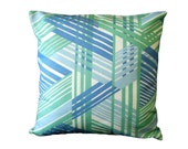 Geometric Pillow Covers Home Decor Blue Green Set of 2 16 x 16