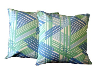 Geometric Pillow Covers Home Decor  Blue and Green Set of Two 18 x 18