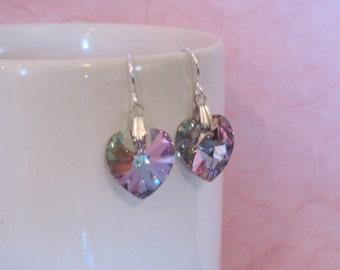 Swarovski heart dangle earrings vitrail light