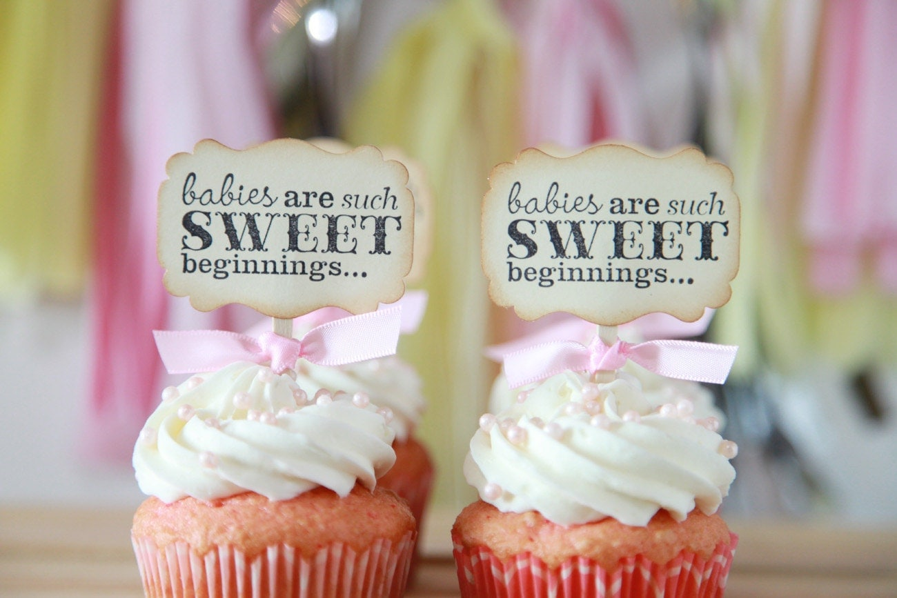 Baby Shower Cupcake toppers Babies are Sweet Gender Neutral