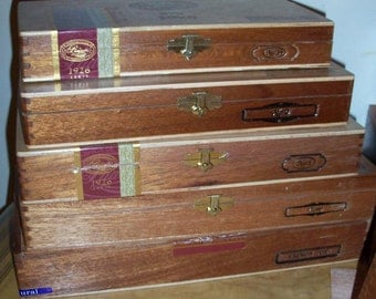 Cigar Box Padron Wooden Box Storage System Decoupage Treasure Chest Dozens In Stock by IndustrialPlanet REDUCED
