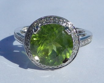 Natural Untreated 3.70 Carat Peridot & Diamond Ring 14KT Gold W/ Appraisal