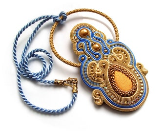 Soutache pendant  - elegant, colorful, classy and unusual - Jewel of the Nile