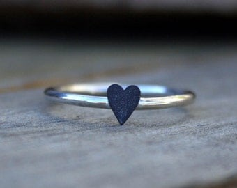 Sterling Silver Ring - Sweet Little Black Heart