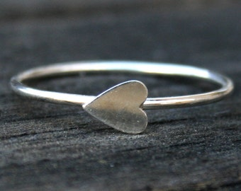 Sterling Silver Sideways Heart Stacking Ring