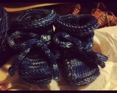 Handknit square toed baby booties. (pair)